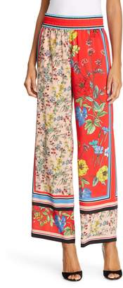 Alice + Olivia Benny Pattern Mix Wide Leg Pants