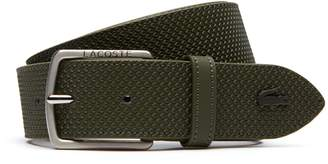 Lacoste Men's Chantaco Engraved Tongue Buckle Leather Belt