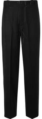 Prada Wide-Leg Printed Wool-Tweed Trousers