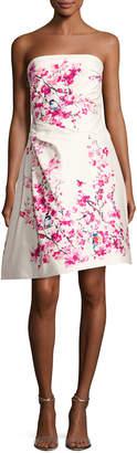 Monique Lhuillier Strapless Cherry Blossom-Print Cocktail Dress, Multi