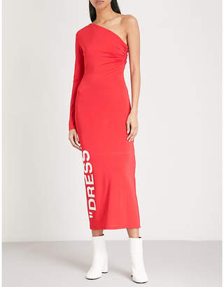 Off-White One-shoulder stretch-jersey dress