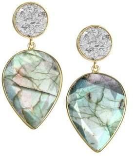 Shana Gulati Horatio 18K Gold-Plated, Diamond& Labradorite Drop Earrings