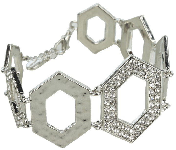 GUESS - Hexagon Link Bracelet (Silver/Crystal) - Jewelry