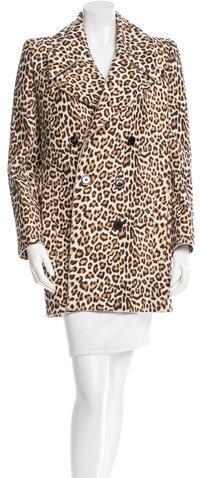 CarvenCarven Leopard Print Double-Breasted Coat