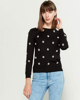 YAL New York Floral Pearl Long Sleeve Sweater