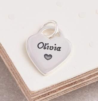 Scarlett Jewellery Personalised Silver Heart Tag Charm
