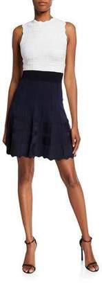 Ted Baker Colorblock Sleeveless Scallop-Edge Dress