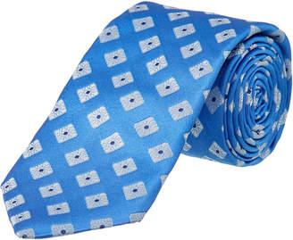 Ike Behar Blue Summer Squares Silk Tie