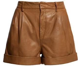 Etoile Isabel Marant Abot High Rise Washed Leather Shorts - Womens - Camel