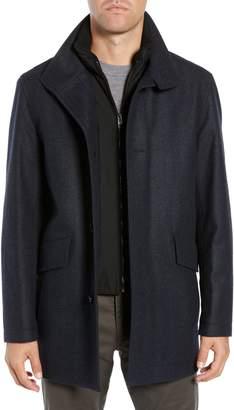 BOSS Coxtan Regular Fit Herringbone Layer Look Wool Blend Coat