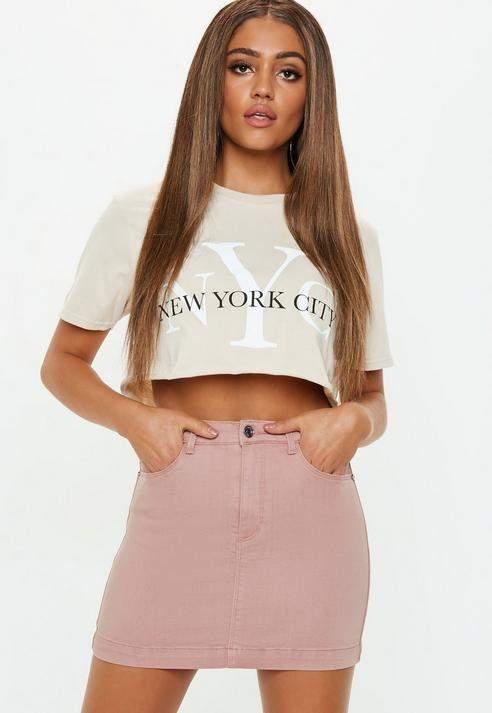 Petite Blush Super Stretch Denim Skirt