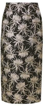Rochas Oncidium Metallic Jacquard Pencil Skirt - Womens - Black Gold
