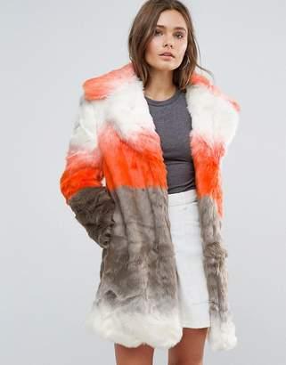Glamorous Ombre Faux Fur Coat