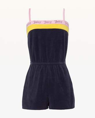 Juicy Couture Embroidered Juicy Colorblock Microterry Romper