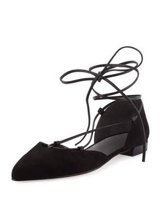 Stuart Weitzman Gilligan Lace-Up d'Orsay Flat, Black $398 thestylecure.com