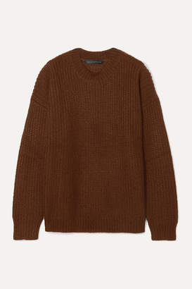 Sally LaPointe Oversized Ribbed Mohair-blend Sweater - Dark brown