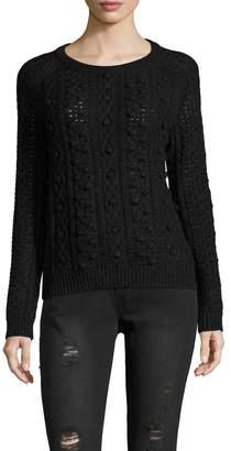 White + Warren Women's Aran Cable Crewneck Sweater