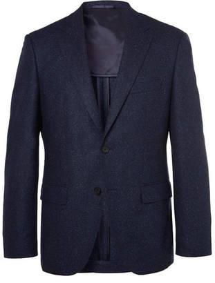 HUGO BOSS Navy Jestor Mélange Virgin Wool-Blend Tweed Suit Jacket