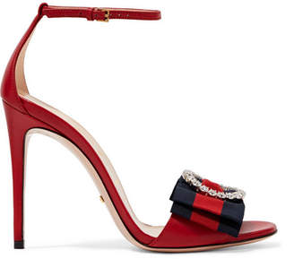 d06c998d850d Gucci Embellished Grosgrain-trimmed Leather Sandals - Red