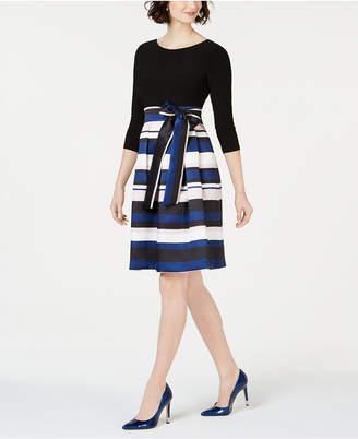 Jessica Howard Striped-Skirt Fit & Flare Dress