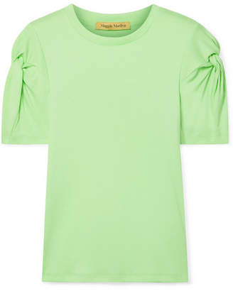 Maggie Marilyn Net Sustain Knot On Organic Cotton T-shirt - Lime green