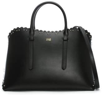 Class Roberto Cavalli Leo Lace Black Leather Tote Bag
