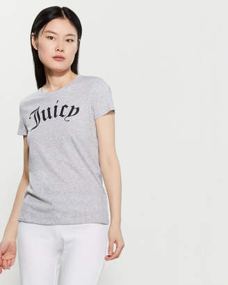 Juicy Couture Heather Grey Gothic Logo Tee