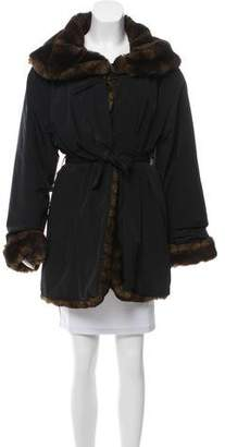 Andrew Marc Faux Fur-Trimmed Short Coat