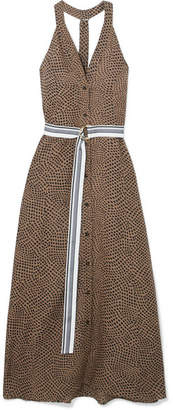 Diane von Furstenberg Belted Printed Linen Maxi Dress - Chocolate
