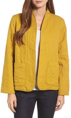 Eileen Fisher High Collar Quilted Jacket