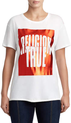 True Religion WOMENS METALLIC LOGO GRAPHIC TEE