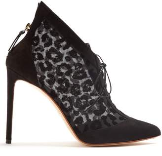 Francesco Russo Leopard-print velvet-devoré lace-up ankle boots