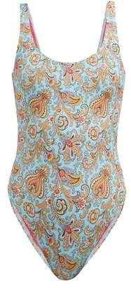 Etro Paisley Print Scoop Neck Swimsuit - Womens - Light Blue