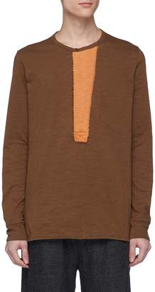 SIKI IM / DEN IM Contrast placket long sleeve Henley T-shirt