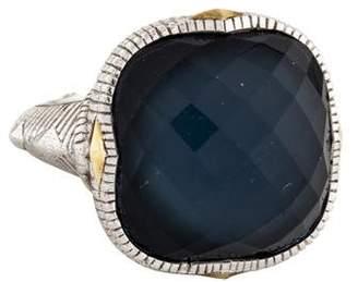 Judith Ripka Synthetic Quartz & Hematite Doublet Contempo Cushion Ring