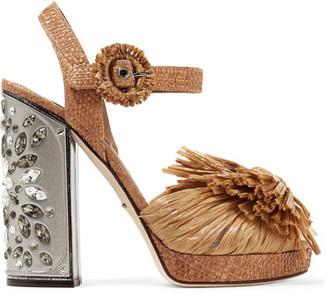 Dolce & Gabbana - Embellished Raffia Platform Sandals - Light brown $4,295 thestylecure.com