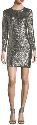 A.L.C. Aliya Sequin Crewneck Long-Sleeve Fitted Mini Dress