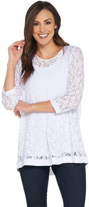Susan Graver Stretch Lace Tunic with Liquid Knit Tank