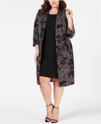 Connected Plus Size Floral-Print Jacket Dress