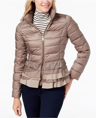 T Tahari Zoey Ruffled-Hem Packable Puffer Coat