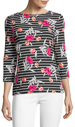 Isaac Mizrahi IMNYC Three-Quarter Sleeve Boatneck Tee