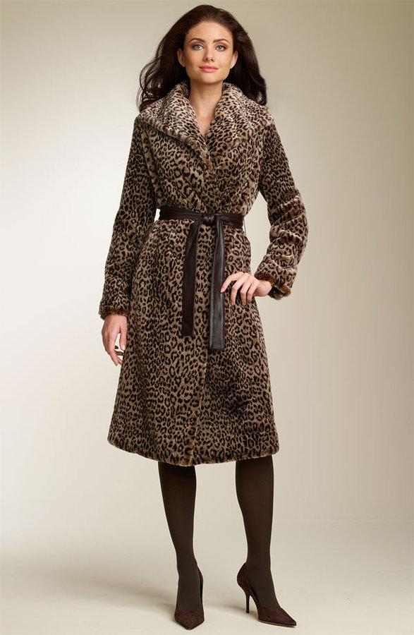 Calvin Klein Faux Leopard Fur Wrap Coat