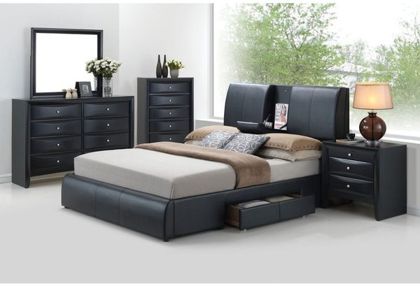 AcmeAcme Kofi Black PU Bed with Storage