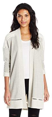 Michael Stars Women's Leisure Terry Open Cardigan with Stitch Detail
