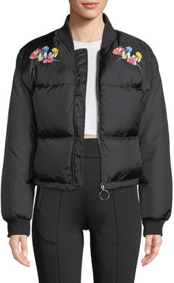 """Off-White Off White """"Woman"""" Floral-Embroidery Ripstop Puffer Bomber Jacket"""