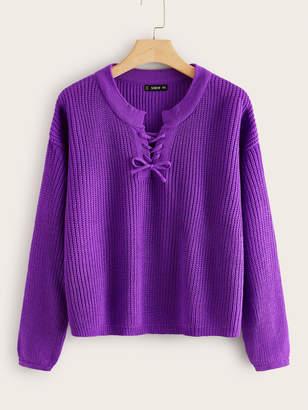 Shein Plus Drop Shoulder Lace Up Front Sweater