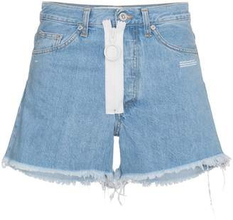 Off-White Blue denim shorts with white exposed zip