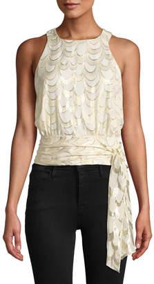 Milly Lauren Metallic Silk Chiffon Tie-Hem Top