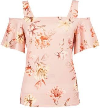 dd4489a50a7 Dorothy Perkins Womens Blush Floral Print Cold Shoulder Top