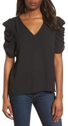 Halogen Ruched Sleeve Blouse